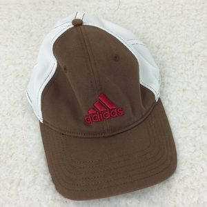Men's brown and white Adidas hat with red logo